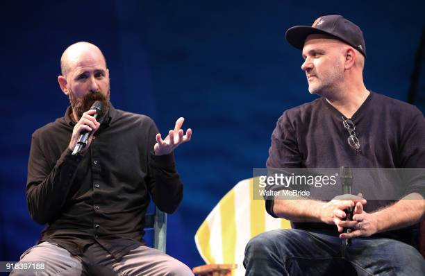 Greg Garcia and Mike O'Malley during the Press Sneak Peak for the Jimmy Buffett Broadway Musical 'Escape to Margaritaville' on February 14 2018 at...