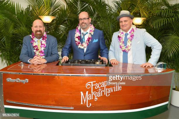 Greg Garcia Christopher Ashley and Mike O'Malley attend the Broadway premiere of 'Escape to Margaritaville' the new musical featuring songs by Jimmy...