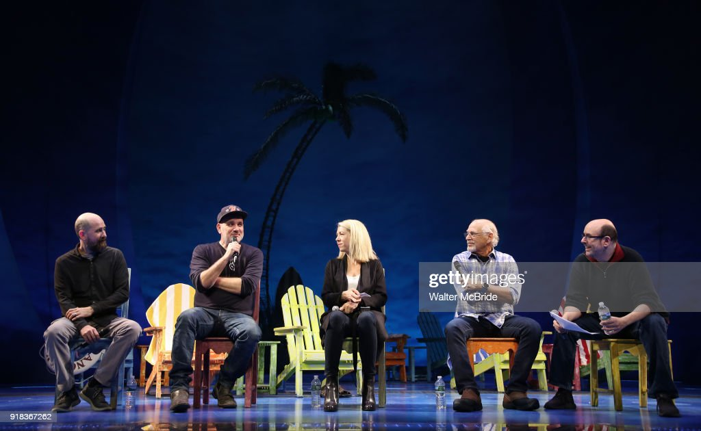 Greg Garcia, Mike O'Malley, Kelly Devine, Jimmy Buffett and Christopher Ashley during the Press Sneak Peak for the Jimmy Buffett Broadway Musical 'Escape to Margaritaville' on February 14, 2018 at the Marquis Theatre in New York City.