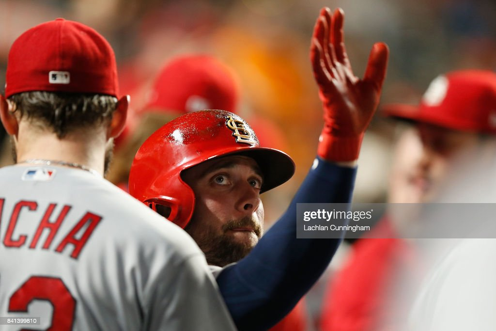 Greg Garcia #35 of the St Louis Cardinals celebrates in the dugout after scoring on a single hit by Jose Martinez #58 of the St Louis Cardinals in the seventh inning against the San Francisco Giants at AT&T Park on August 31, 2017 in San Francisco, California.