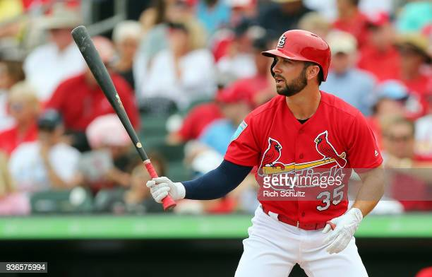Greg Garcia of the St Louis Cardinals in action a spring training game against the Miami Marlins at Roger Dean Stadium on March 10 2018 in Jupiter...