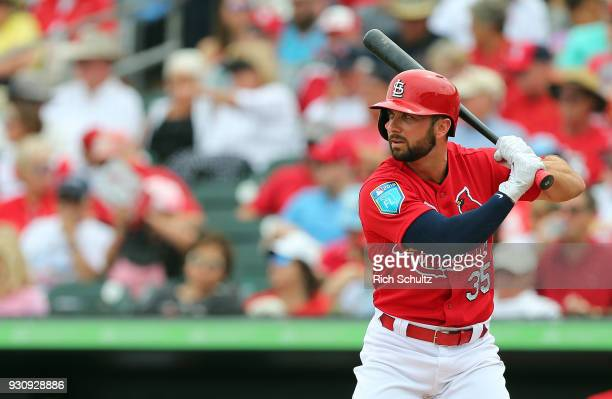 Greg Garcia of the St Louis Cardinals in action during a spring training game against the Miami Marlins at Roger Dean Stadium on March 10 2018 in...