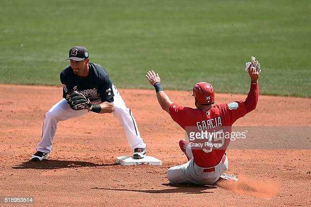 Greg Garcia of the St Louis Cardinals is tagged out at second base by Jace Peterson of the Atlanta Braves during the second inning of a spring...