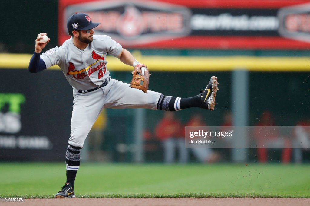 Greg Garcia #35 of the St. Louis Cardinals makes a play from shortstop in the first inning of the game against the Cincinnati Reds at Great American Ball Park on April 15, 2018 in Cincinnati, Ohio. All players are wearing #42 in honor of Jackie Robinson Day.