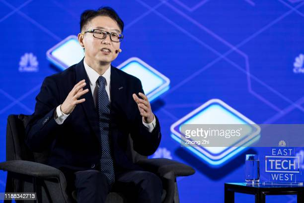 Greg Geng, Vince President of Tencent's WeChat Business Group speaks with Qian Chen, reporter of CNBC during the fireside chat on Day 1 of CNBC East...