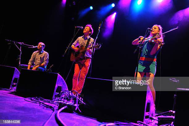 Greg Glassman David Wax and Suz Slezak of David Wax Museum perform on stage at Shepherds Bush Empire on October 9 2012 in London United Kingdom