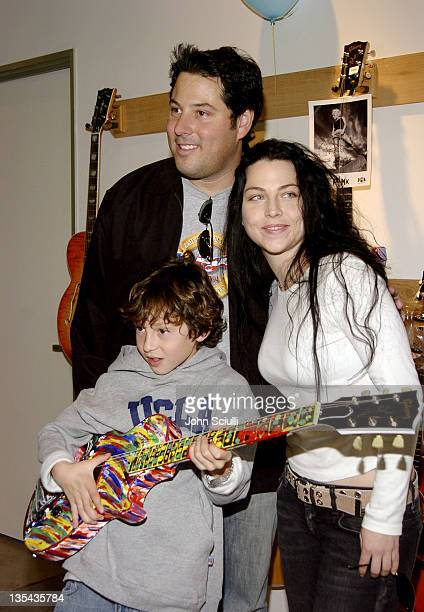 Greg Grunberg and Amy Lee during Gibson Guitar Paint for Pep Charity Event at Gibson Baldwin Showroom in Beverly Hills CA United States