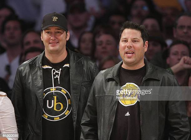 Greg Grunberg and Phil Hellmuth attend the Los Angeles Lakers vs San Antonio Spurs Western Conference Game 1 at Staples Center on May 21 2008 in Los...