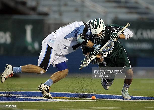 Greg Gurenlian of the Long Island Lizards wins a face off against Eric O'Brien of the Ohio Machine during their Major League Lacrosse game on June 1...