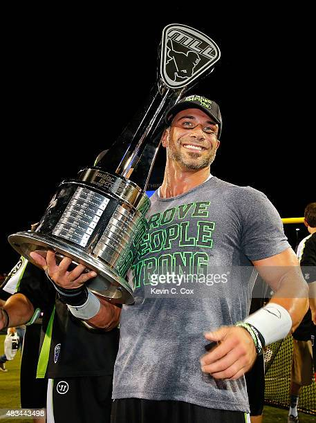 Greg Gurenlian of the New York Lizards poses with the trophy after their 1512 win over the Rochester Rattlers during the 2015 Major League Lacrosse...