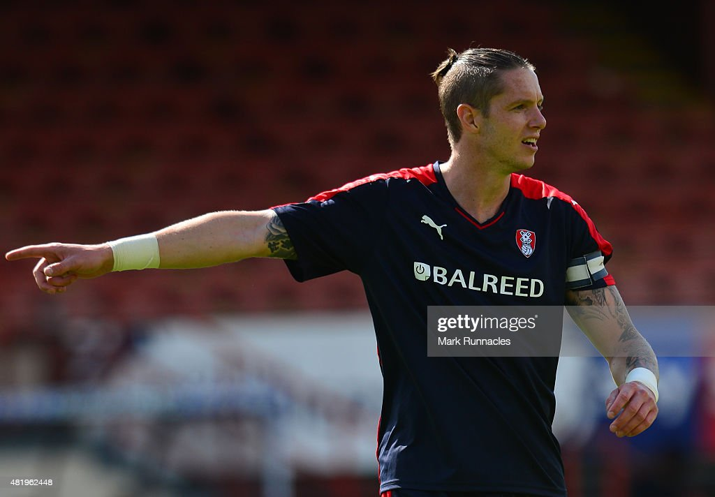 Greg Halford of Rotherham in action during a pre season friendly match between Patrick Thistle FC and Rotherham United at Firhill Stadium on July 25, 2015 in Glasgow, Scotland.