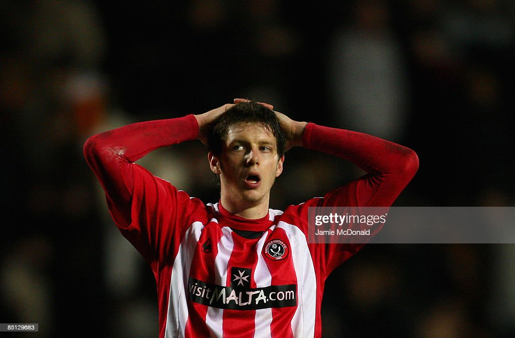 Greg Halford of Sheffield United looks dejected during the FA Cup sponsored by E.on, 5th round replay match between Hull City and Sheffield United at the KC Stadium on February 26, 2009 in Hull, England.