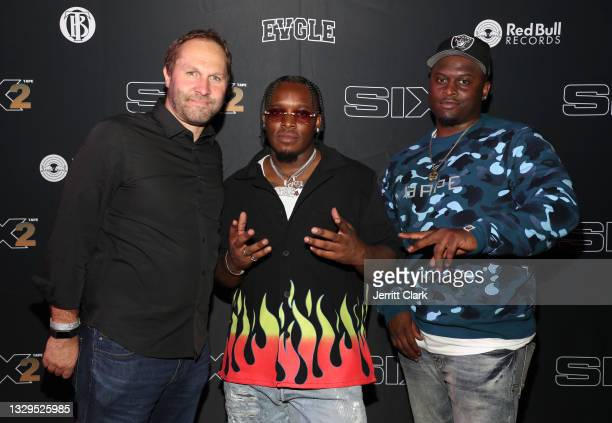 Greg Hammer, Blxst and Victor Burnett attend the Blxst & Bino Rideaux 'Sixtape 2' release event at The Theatre at Ace Hotel on July 15, 2021 in Los...
