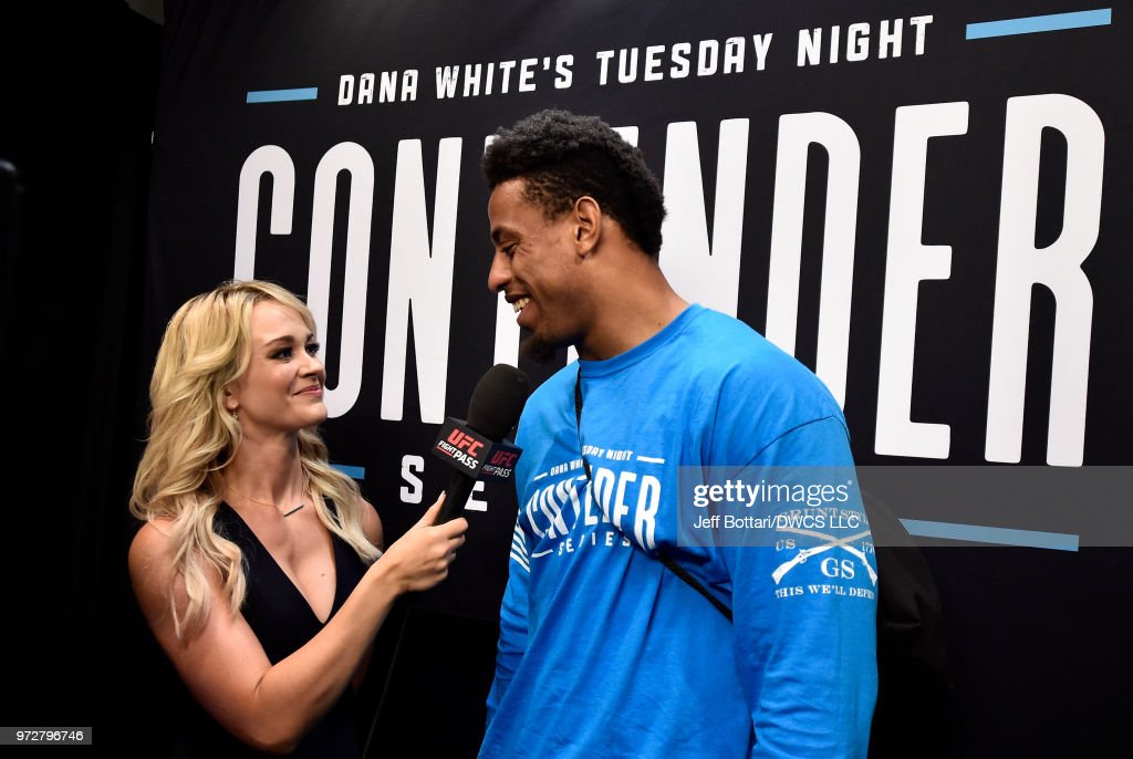 Greg Hardy is interviewed by Laura Sanko after being awarded a UFC contract during Dana White's Tuesday Night Contender Series at the TUF Gym on June 12, 2018 in Las Vegas, Nevada.