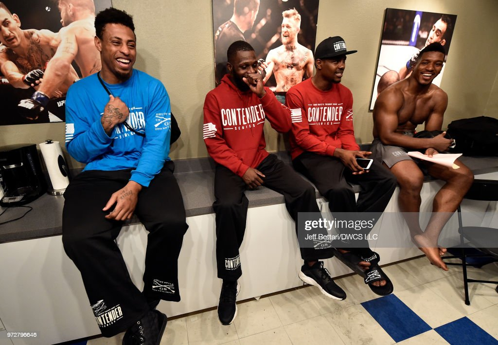 Greg Hardy, Montel Jackson, Kevin Holland, and Alonzo Menifield await the announcement of contracts during Dana White's Tuesday Night Contender Series at the TUF Gym on June 12, 2018 in Las Vegas, Nevada.