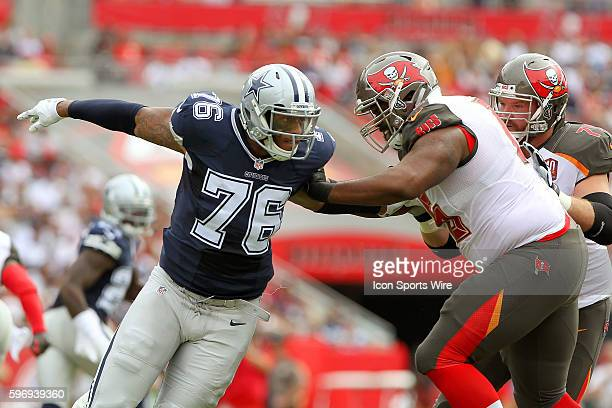 Greg Hardy of the Cowboys attempts to get around Donovan Smith of the Buccaneers during the NFL game between the Dallas Cowboys and Tampa Bay...