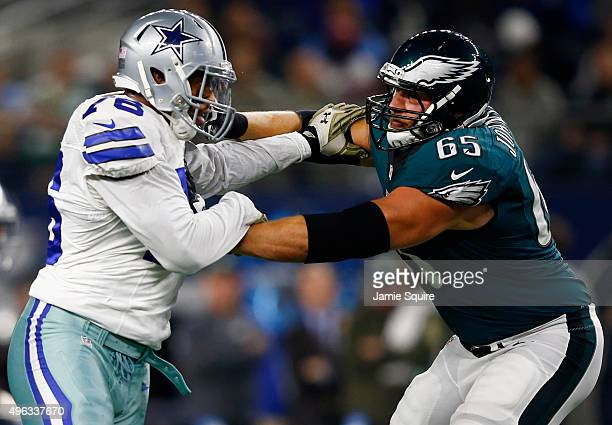 Greg Hardy of the Dallas Cowboys goes against Lane Johnson of the Philadelphia Eagles in the first half at ATT Stadium on November 8 2015 in...