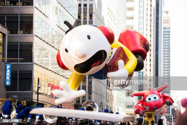 Greg Heffley of Diary of a Wimpy Kid and Jett balloons are seen at the 2018 Macy's Thanksgiving Day Parade on November 22, 2018 in New York City.