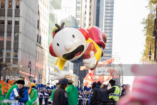 Greg Heffley of Diary of a Wimpy Kid balloon is seen at the 2018 Macy's Thanksgiving Day Parade on November 22, 2018 in New York City.