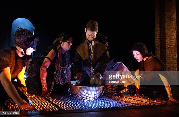 Greg Hicks as Macbeth stars with Meg Fraser Louise Bagay and Ruth Gemmell as the Three Witches in the Royal Shakespeare Company production of Macbeth...