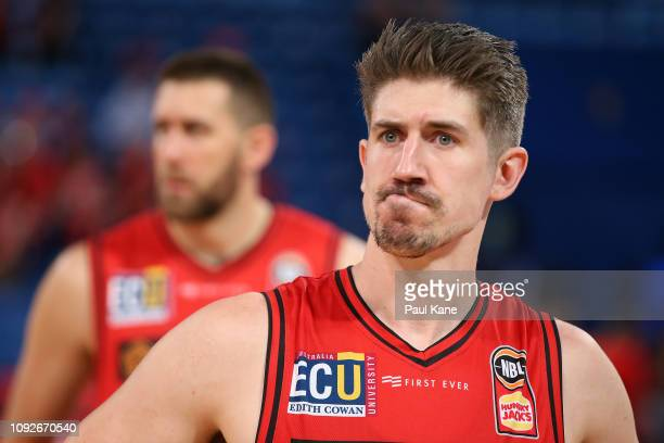 Greg Hire of the Wildcats looks on after being defeated during the round 13 NBL match between the Perth Wildcats and the Cairns Taipans at RAC Arena...