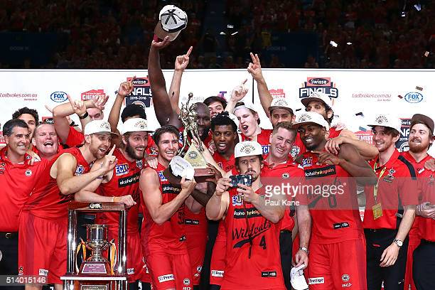 Greg Hire of the Wildcats takes a selfie with his team after winning the championship during game three of the NBL Grand Final series between the...