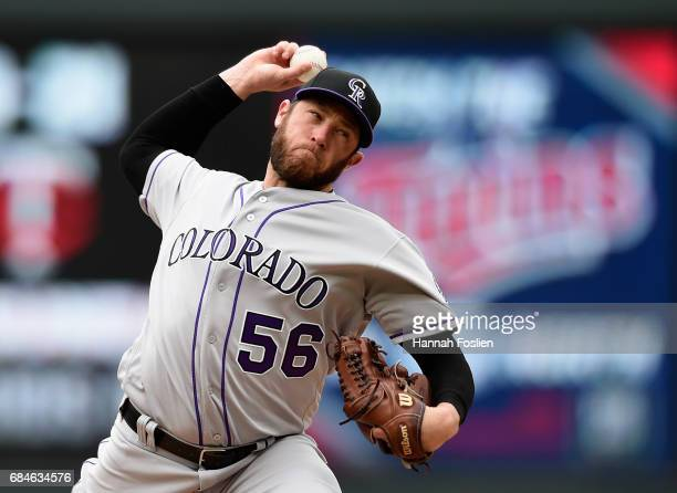 Greg Holland of the against the Colorado Rockies delivers a pitch against the Minnesota Twins during the ninth inning of game one of a doubleheader...