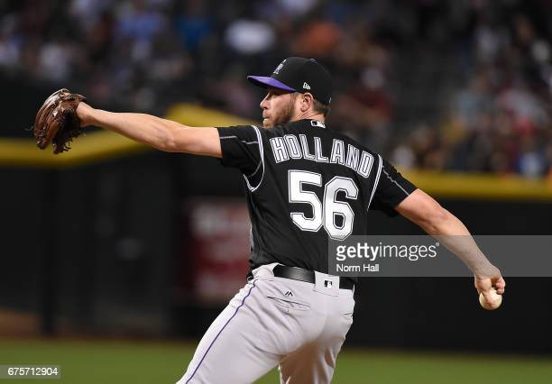 Greg Holland of the Colorado Rockies delivers a pitch against the Arizona Diamondbacks at Chase Field on April 28 2017 in Phoenix Arizona