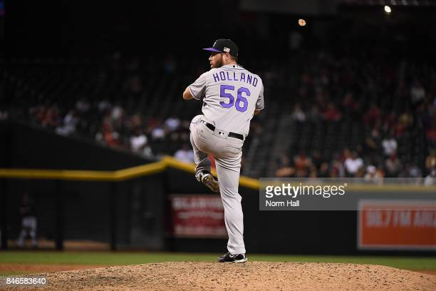 Greg Holland of the Colorado Rockies delivers a pitch against the Arizona Diamondbacks at Chase Field on September 11 2017 in Phoenix Arizona