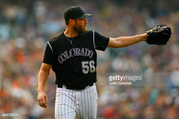 Greg Holland of the Colorado Rockies in action against the San Francisco Giants at Coors Field on September 4 2017 in Denver Colorado