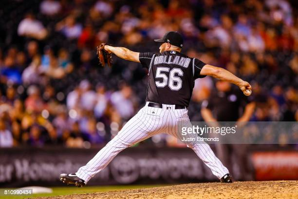 Greg Holland of the Colorado Rockies pitches against the Cincinnati Reds at Coors Field on July 5 2017 in Denver Colorado The Rockies defeated the...