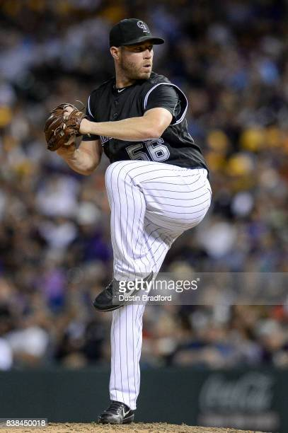 Greg Holland of the Colorado Rockies pitches against the Milwaukee Brewers during a game at Coors Field on August 19 2017 in Denver Colorado