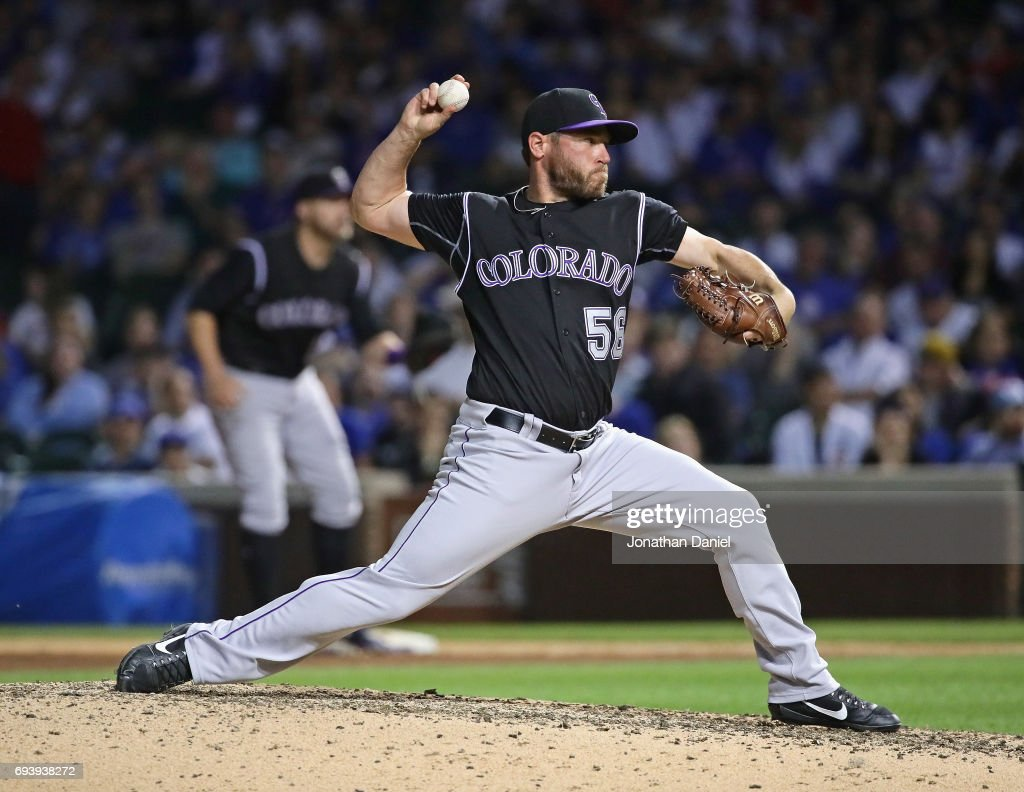 Greg Holland #56 of the Colorado Rockies pitches in the 9th inning against the Chicago Cubs at Wrigley Field on June 8, 2017 in Chicago, Illinois. The Rockies defeated the Cubs 4-1.