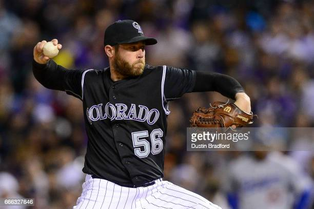 Greg Holland of the Colorado Rockies pitches in the ninth inning of a game against the Los Angeles Dodgers at Coors Field on April 8 2017 in Denver...