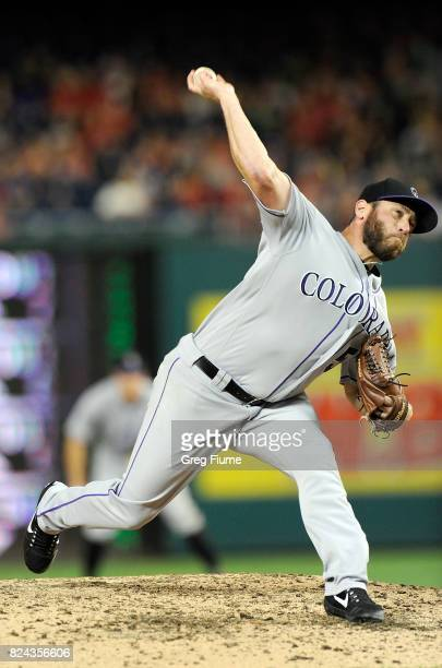 Greg Holland of the Colorado Rockies pitches in the ninth inning against the Washington Nationals at Nationals Park on July 29 2017 in Washington DC...