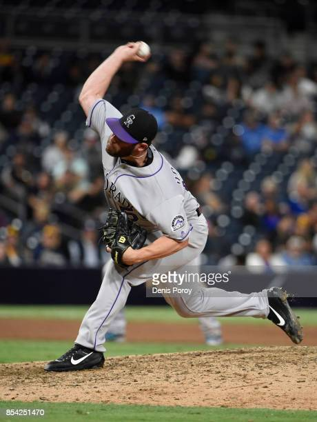 Greg Holland of the Colorado Rockies plays during a baseball game against the San Diego Padres at PETCO Park on September 22 2017 in San Diego...