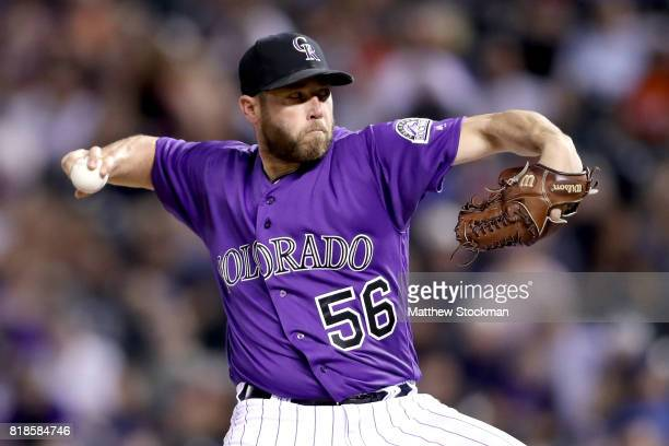 Greg Holland of the Colorado Rockies throws in the ninth inning against the San Diego Padres at Coors Field on July 18 2017 in Denver Colorado