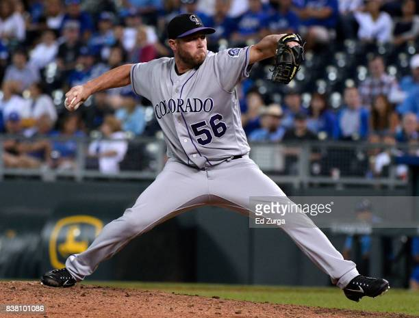 Greg Holland of the Colorado Rockies throws in the ninth inning against the Kansas City Royals at Kauffman Stadium on August 23 2017 in Kansas City...