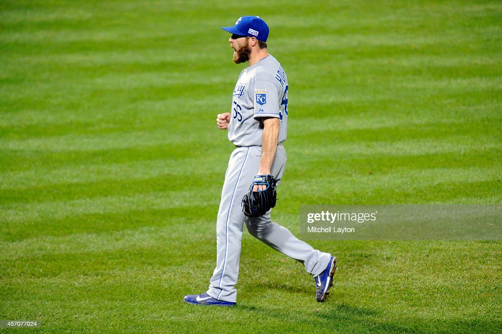 Greg Holland #56 of the Kansas City Royals celebrates after closing out the ninth inning to defeat the Baltimore Orioles 6 to 4 in Game Two of the American League Championship Series at Oriole Park at Camden Yards on October 11, 2014 in Baltimore, Maryland.
