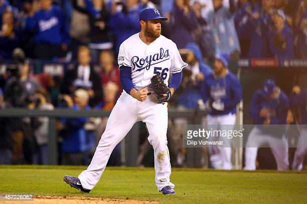 Greg Holland of the Kansas City Royals celebrates after closing out the ninth inning to defeat the Baltimore Orioles 2 to 1 in Game Three of the...