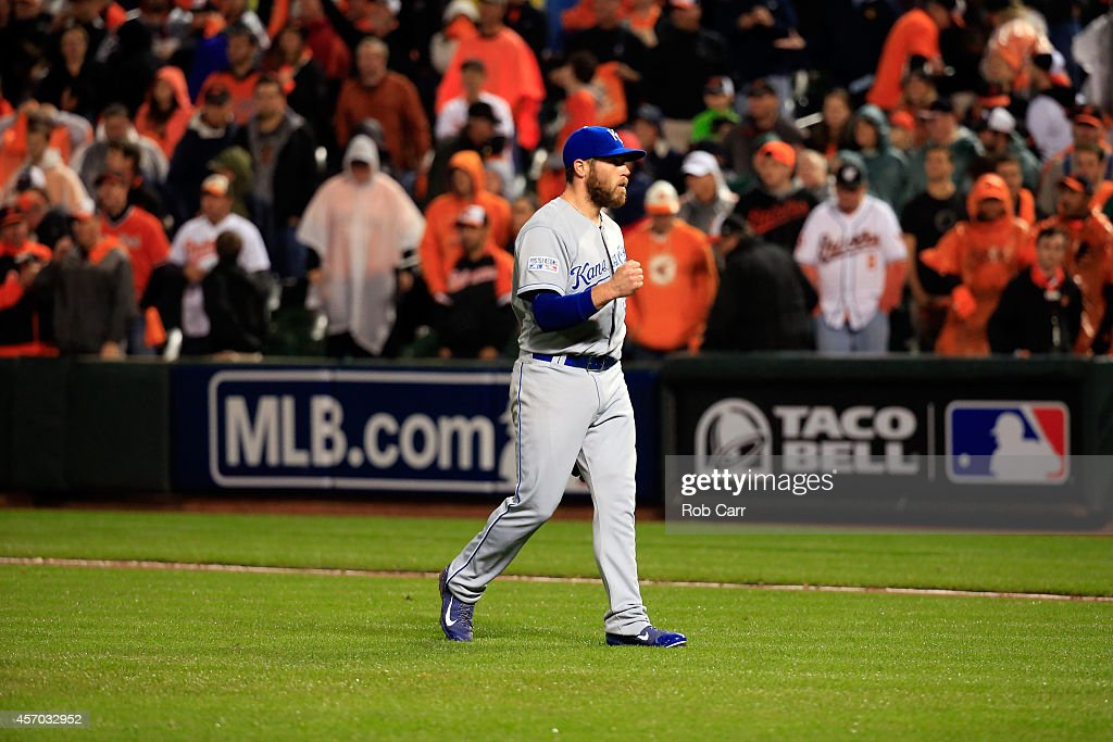 Greg Holland #56 of the Kansas City Royals celebrates after defeating the Baltimore Orioles 8 to 6 in Game One of the American League Championship Series at Oriole Park at Camden Yards on October 10, 2014 in Baltimore, Maryland.