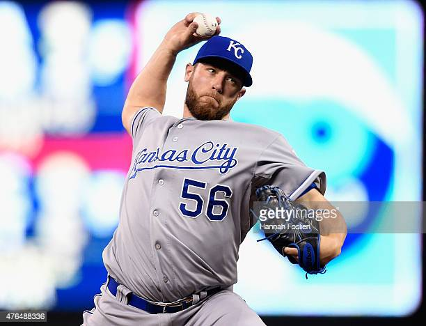 Greg Holland of the Kansas City Royals delivers a pitch against the Minnesota Twins during the ninth inning of the game on June 9 2015 at Target...