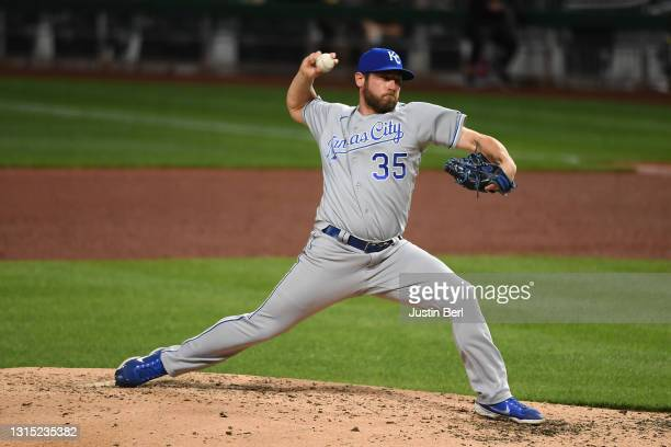 Greg Holland of the Kansas City Royals in action during the game against the Pittsburgh Pirates at PNC Park on April 27, 2021 in Pittsburgh,...