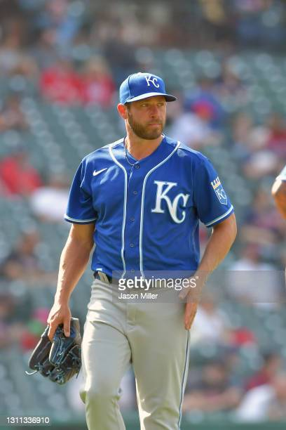 Greg Holland of the Kansas City Royals leaves the game during the eighth inning against the Cleveland Indians at Progressive Field on April 07, 2021...