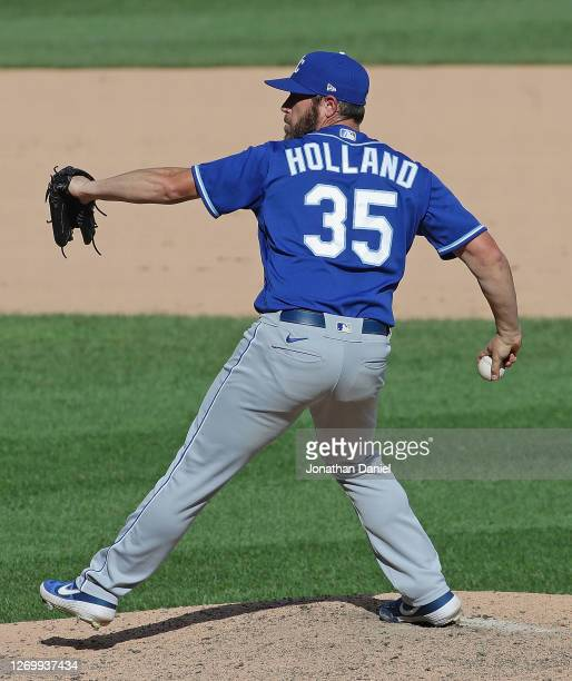 Greg Holland of the Kansas City Royals pitches against the Chicago White Sox at Guaranteed Rate Field on August 29, 2020 in Chicago, Illinois. The...