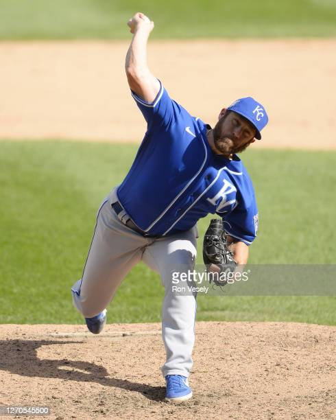 Greg Holland of the Kansas City Royals pitches against the Chicago White Sox on August 29, 2020 at Guaranteed Rate Field in Chicago, Illinois.