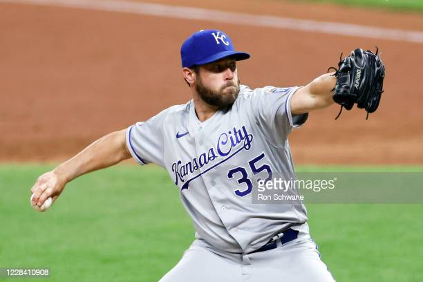 Greg Holland of the Kansas City Royals pitches against the Cleveland Indians during the eighth inning at Progressive Field on September 08, 2020 in...