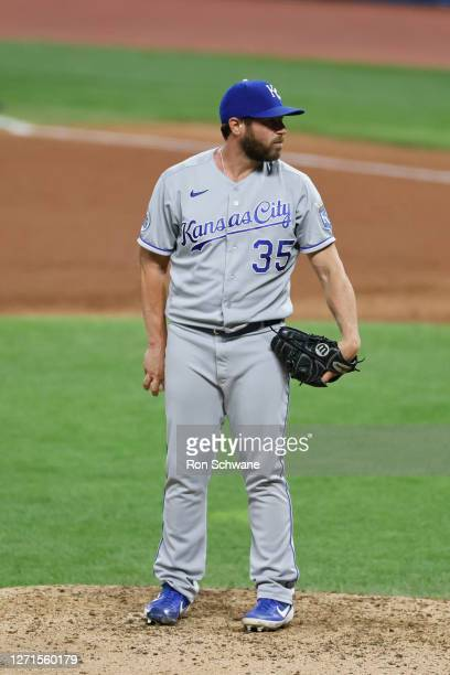 Greg Holland of the Kansas City Royals pitches against the Cleveland Indians during the seventh inning at Progressive Field on September 08, 2020 in...