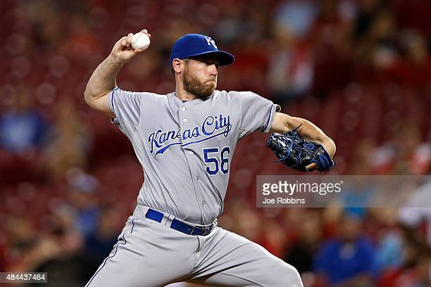 Greg Holland of the Kansas City Royals pitches in the 13th inning against the Cincinnati Reds at Great American Ball Park on August 18 2015 in...