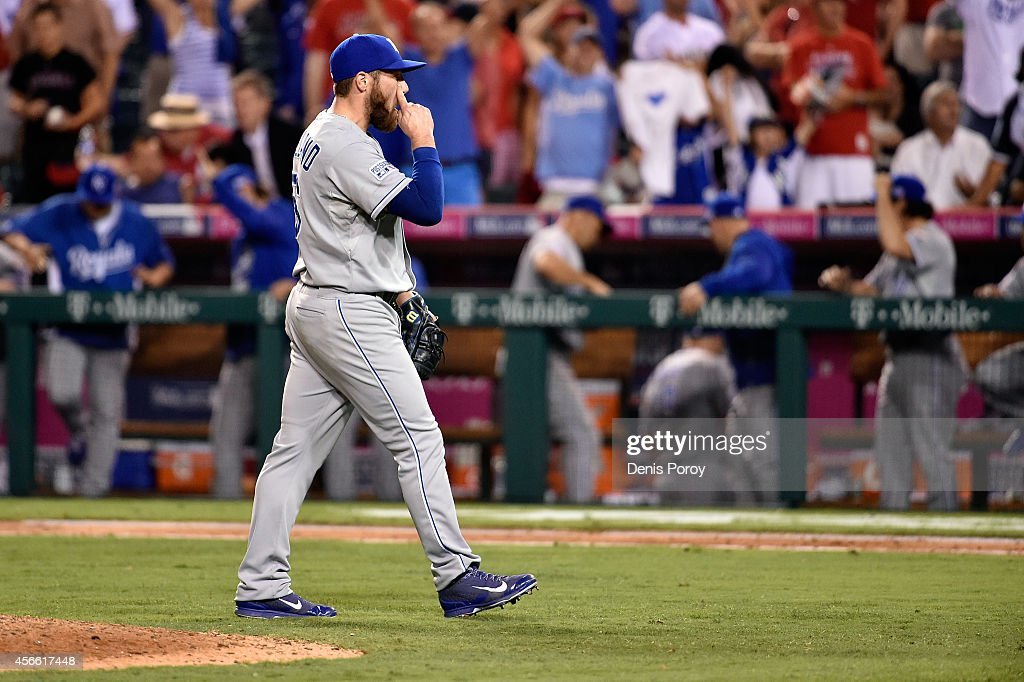 Greg Holland #56 of the Kansas City Royals reacts after a 4-1 win over the Los Angeles Angels in eleven innings in Game Two of the American League Division Series at Angel Stadium of Anaheim on October 3, 2014 in Anaheim, California.